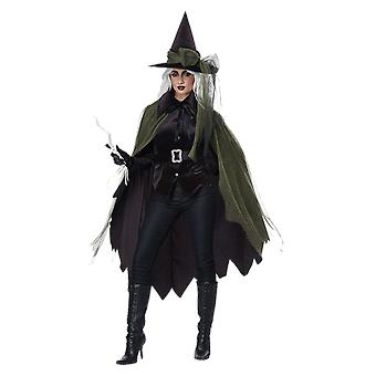 Womens Gothic Witch Halloween Fancy Dress Costume
