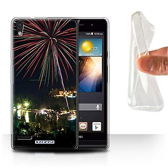 STUFF4 Gel/TPU Case/Cover for Huawei Ascend P6/Fireworks/Thailand Scenery