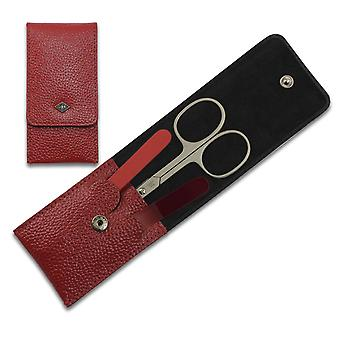 3-Piece Deluxe Solingen Manicure Set in Red Leather Case