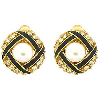 Clip On Earrings Store Black Enamel Round Button Pearl & Gold Plated Clip On Ear