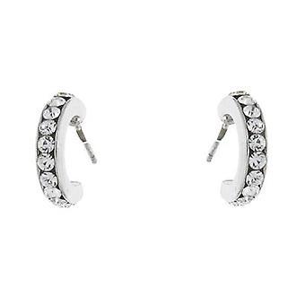 Silver and Swarovski Crystal Semi Hoop Stud Earrings