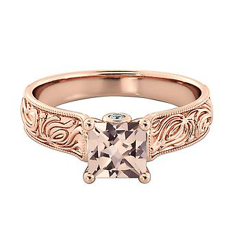 2.06 CTW natural peach/pink VS Morganite Ring with Diamonds 14k Rose Gold Vintage Hand Engraved