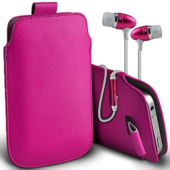 ( Hot Pink + Earphones) Pouch Case For Xiaomi iMi 4S case Premium Stylish Faux Leather Pull Tab Pouch Skin Case Various Colours To Choose From With High Quality Fitted in Ear Buds Stereo Hands Headphones Headset with Built in Micro phone Mic and On-Off Button Xiaomi iMi 4S Cover By i-Tronixs