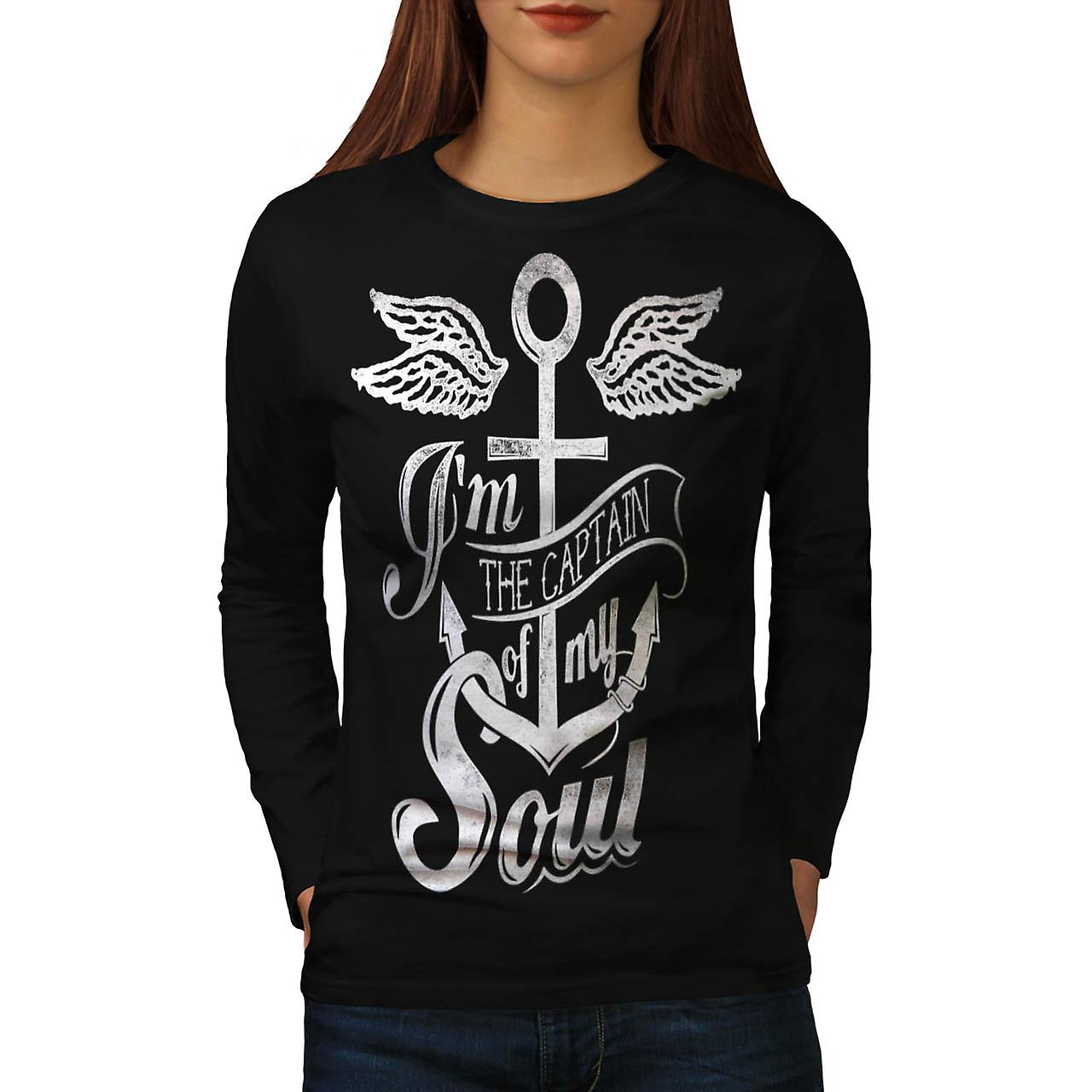 Captain Of My Soul Boat Cruise Women Black Long Sleeve T-shirt | Wellcoda