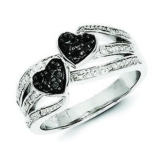 Sterling Silver White and Black Diamond Hearts Ring - Ring Size: 6 to 8