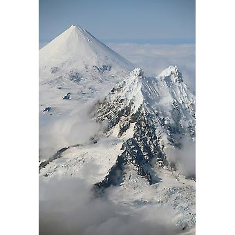 September 2007 - Aerial view of conical snow-covered Shishaldin Volcano with Isanotski in foreground Unimak Island Alaska USA Poster Print