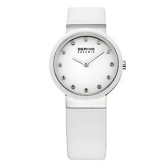Bering ladies slim ceramic - 10729-854 leather wristwatch watch