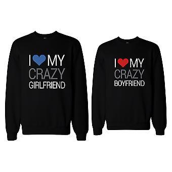 Ich liebe meine verrückten Freund und Freundin passende Sweatshirts für Paare