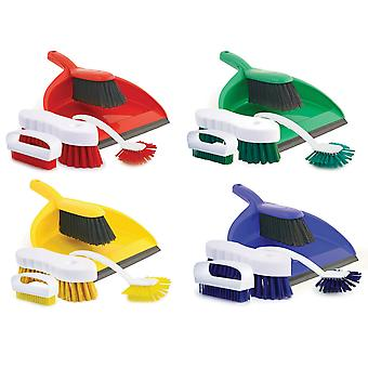 Charles Bentley 4 Piece Colour Coded Cleaning Set Includes Dustpan and Brush - Red Yellow Blue & Green