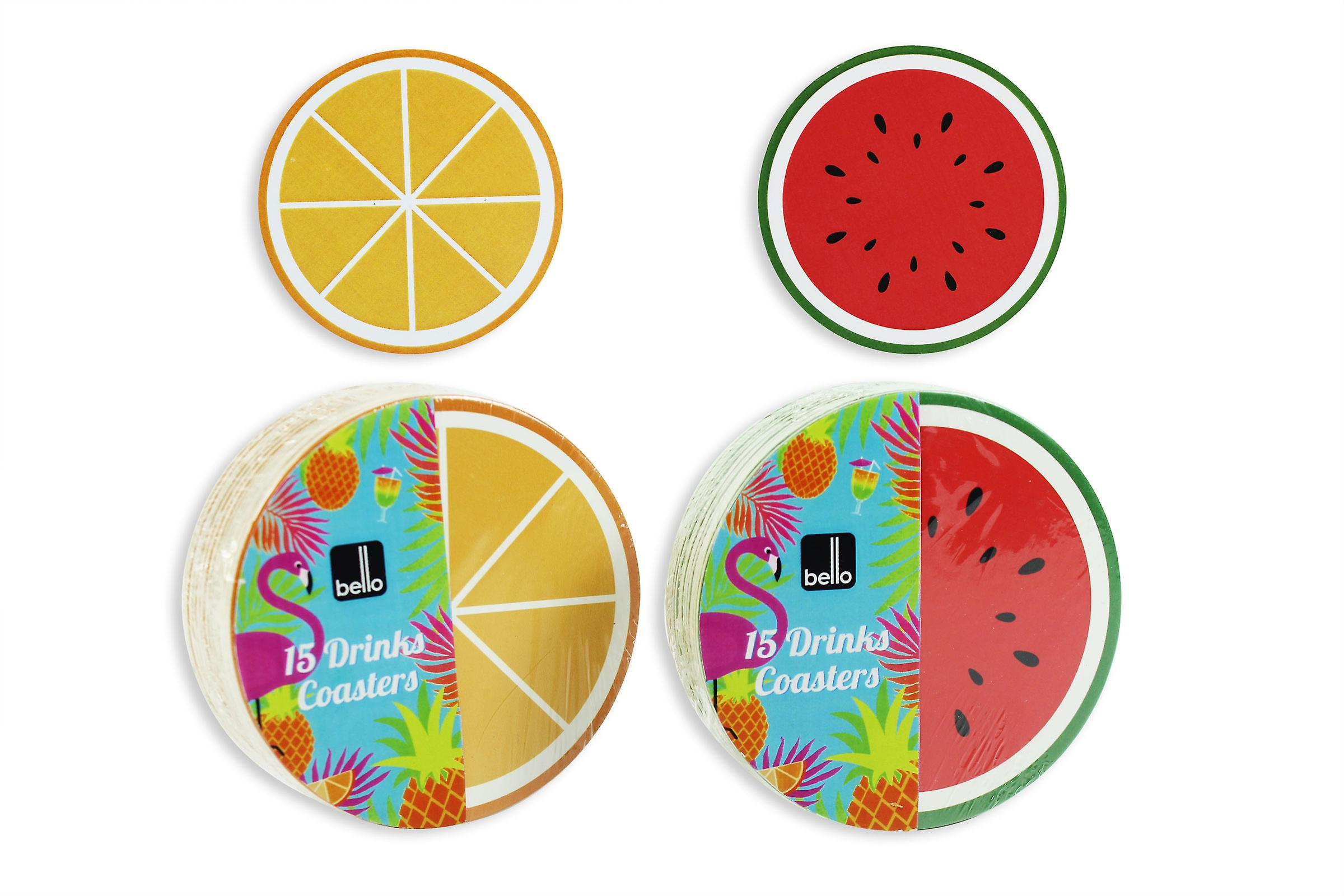 Drinks Coasters Pack of 30 Fruit Design Place Mat Tea Coffee Home Table Bello
