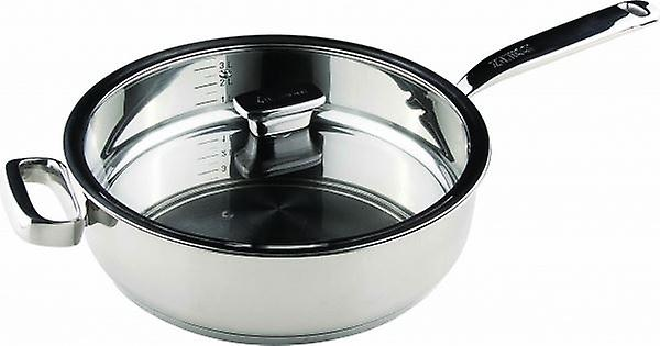 20cm STAINLESS STEEL SAUCE PAN WITH GLASS LID HOME KITCHEN NON STICK FRYING PAN