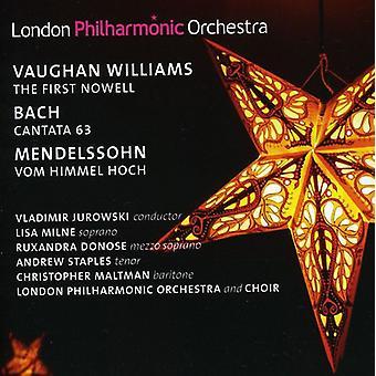 Williams/Bach/Mendel - Vaughan Williams: første Nowell; Bach: Kantate 63; Mendelssohn: Vom Himmel Hoch [CD] USA importerer