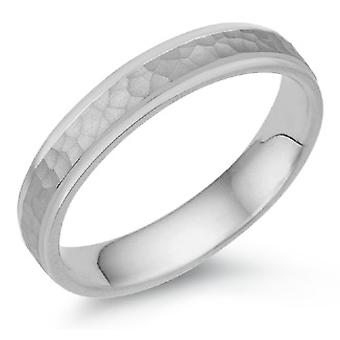 4mm Hammered Wedding Band in 18K White Gold