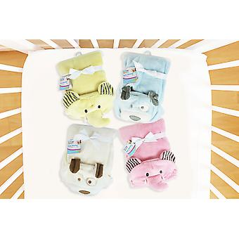 Hooded 3D Baby Blanket Super Soft Flannel Cosy 4 Colours Designs Unisex Toddler