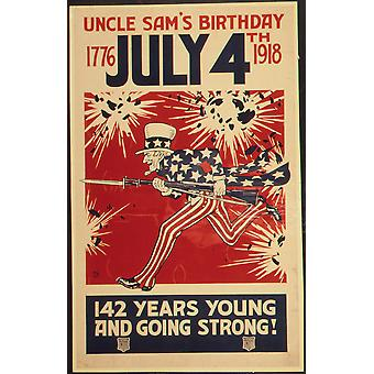 Uncle Sam's Birthday Poster Print Giclee