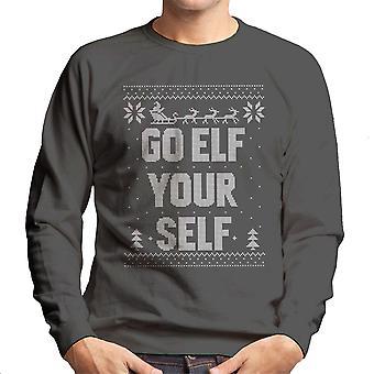 Go Elf Yourself Christmas Knit Pattern Men's Sweatshirt