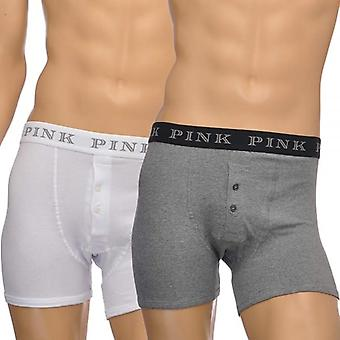 Thomas Pink 2-Pack Cotton Stretch Button Front Boxer Brief, Grey/White, X-Large