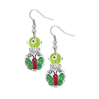Butterfly Wishes Rhinestone Glass Beaded Kate Macy Pierced Earrings Clementine