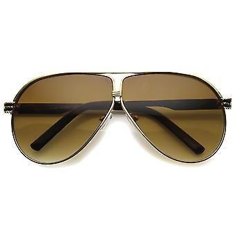 Unisex Metal Aviator Sunglasses With UV400 Protected Gradient Lens