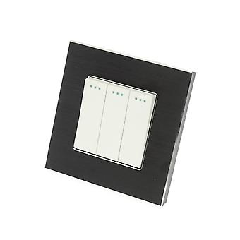 I LumoS Luxury Black Brushed Aluminium Frame 3 Gang 1 Way Rocker Wall Light Switches