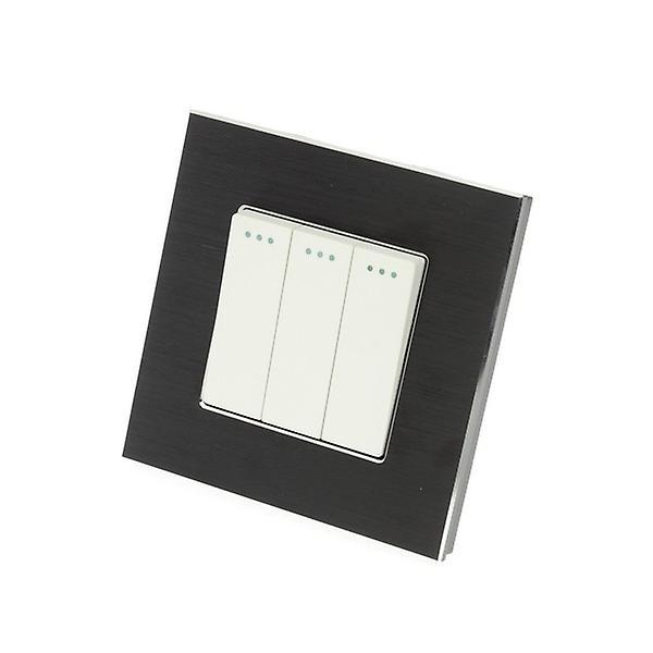 I LumoS Luxury Black Brushed Aluminium Frame 3 Gang 1 Way Rocker Wall Light Switches