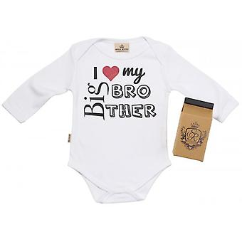 Spoilt Rotten I Love My Big Bro Baby Grow 100% Organic In Milk Carton