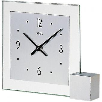 Table clock modern quartz quartz watch of silver-coloured wooden base AMS