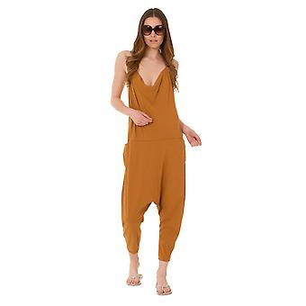 Jersey Jumpsuit - Mustard Drop Crotch Lightweight Stretch Relaxed Fit Playsuit
