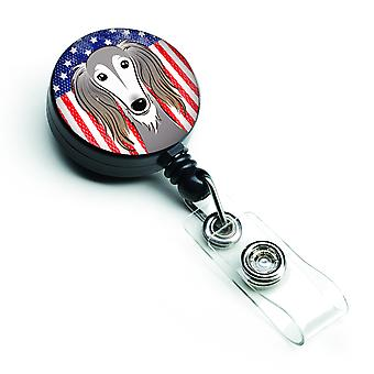 Carolines Treasures  BB2159BR American Flag and Saluki Retractable Badge Reel