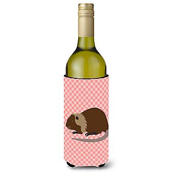 Coypu Nutria River Rat Pink Check Wine Bottle Beverge Insulator Hugger