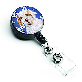 Clumber Spaniel Winter Snowflakes Holiday Retractable Badge Reel
