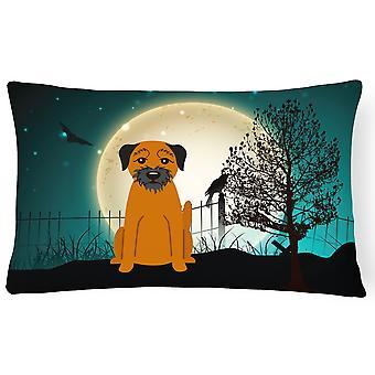 Halloween Scary Border Terrier Canvas Fabric Decorative Pillow