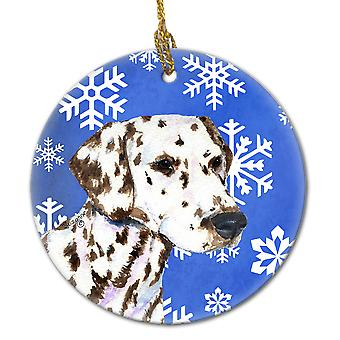 Dalmatian Winter Snowflakes Holiday Christmas Ceramic Ornament SS4607