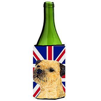 Border Terrier with English Union Jack British Flag Wine Bottle Beverage Insulat