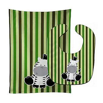 Carolines Treasures  BB8607STBU Zebra on Stripes Baby Bib & Burp Cloth