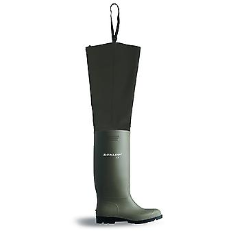 Dunlop Pvc Thigh Wader Full Safety. Green - Ptwf