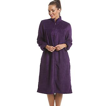 Camille Soft Fleece Purple Zip Front House Coat