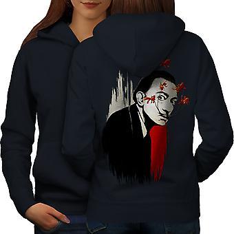 Man Scary Creepy Fashion Women NavyHoodie Back   Wellcoda