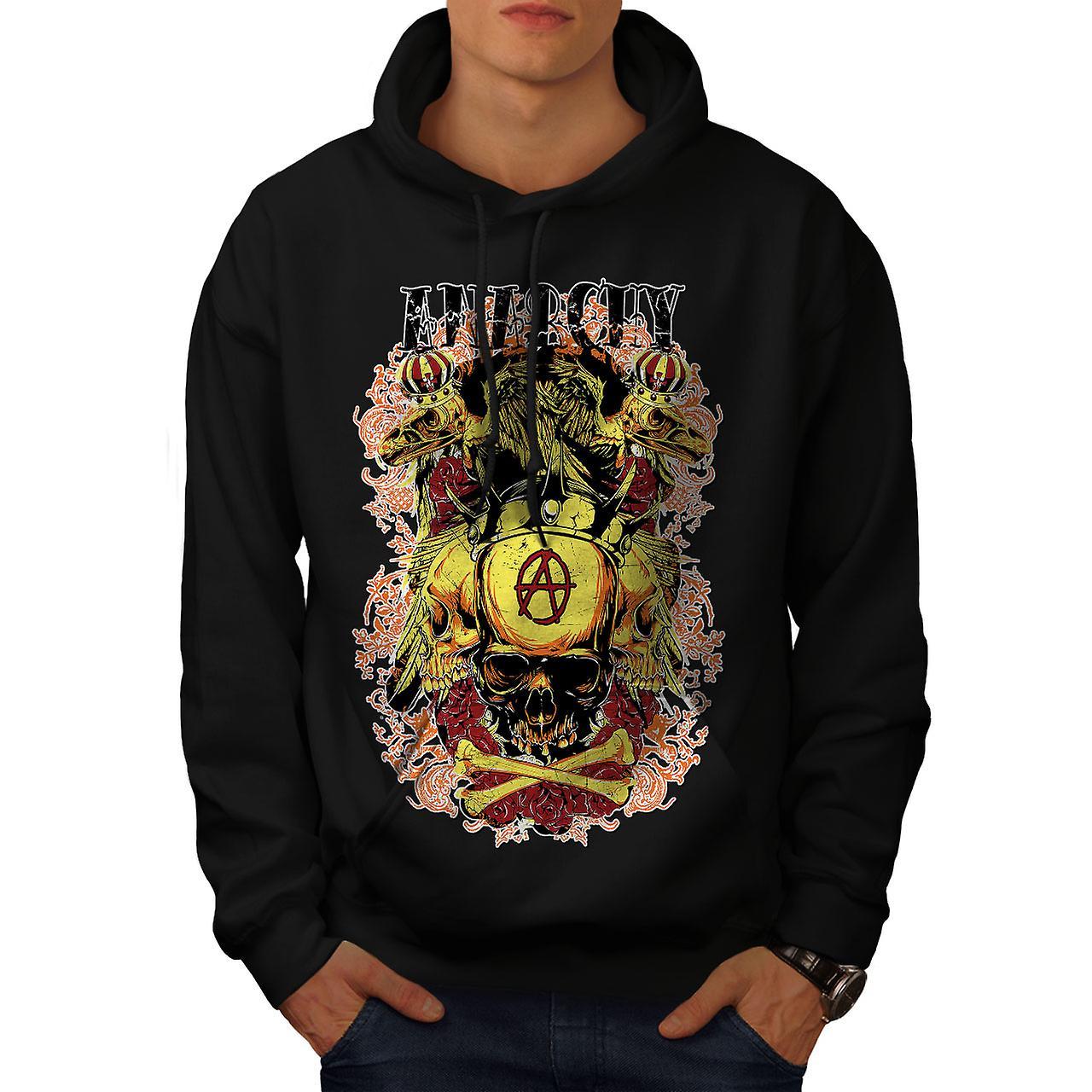 Anarchy Death Eagle Skull Men Black Hoodie | Wellcoda