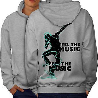 Club Dj Song Dance Music Men GreyHoodie Back | Wellcoda