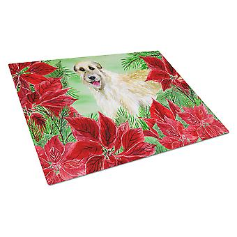 Irish Wolfhound Poinsettas Glass Cutting Board Large