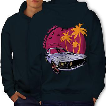 America Muscle Car Men NavyHoodie Back | Wellcoda