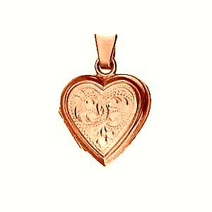 9ct Rose Gold17x17mm hand engraved flat heart shaped Locket