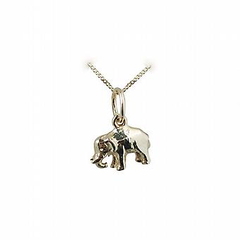 9ct Gold 7x10mm Indian Elephant Pendant with a curb Chain 20 inches