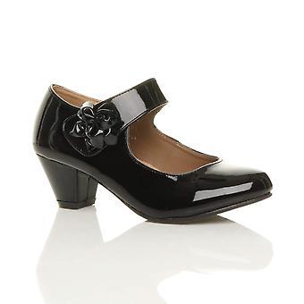 Ajvani dame lav blok killing hæl mary jane stil blomst læder foret arbejde Domstolen sko pumper