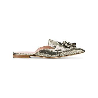 Alberta Ferretti women's V66018002V0613 gold leather sandals