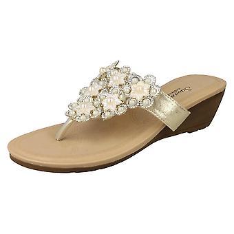 Ladies Savannah Mid Wedge Toepost Sandals F10791