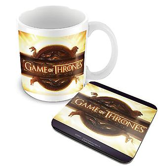 Game Of Thrones Mug and Coaster Opening Logo new official boxed  Gift set