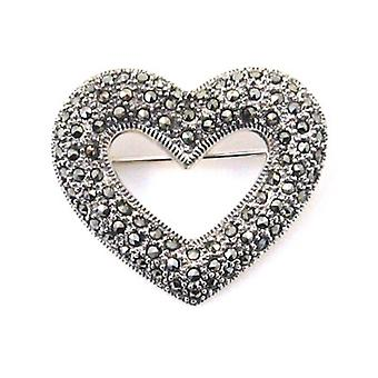 Brooches Store Marcasite and Sterling Silver Open Heart Brooch