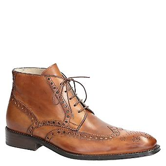 Handmade men's dress ankle boots wigtip toe tan leather
